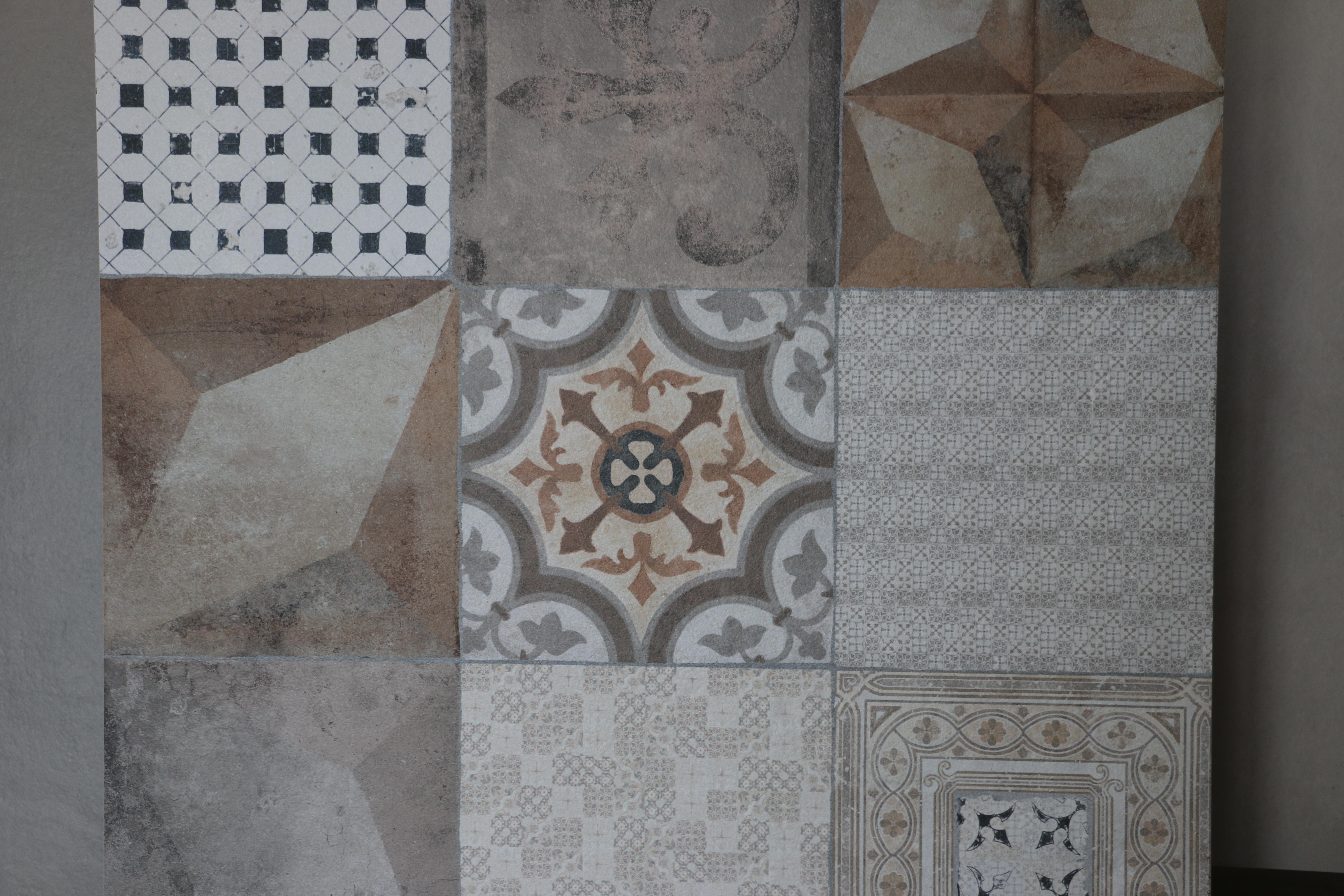 Imitation carreau ciment gris beige